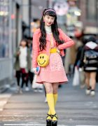 Japanese Model in Colorful Retro Street Style w/ RRR Showroom, Kinji Harajuku, WEGO & Chanel