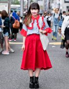 Harajuku Girl in Red Frilly RASPBERRYPIE Top, Vannie Tokyo & Bubbles Harajuku