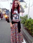 Colorful Long Skirt & Red Hair in Harajuku