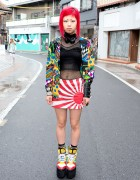 Red Hair, Piercings, Jeremy Scott Platforms, Devilish & Iron Fist in Harajuku