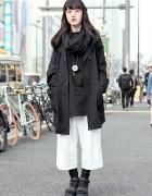 Monochrome Resale Style w/ Culottes & Platform Sandals in Harajuku