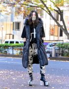 Rick Owens Street Style in Tokyo w/ Moncler Hooded Puffer Coat, Lace-Up Pants & Platform Heeled Boots