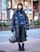 Japanese Model in Oversized Rick Owens Puffer Coat, Dirk Bikkembergs Bag, Yohji Yamamoto & Petrosolaum Shoes
