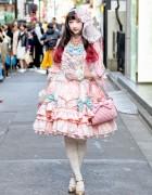 RinRin Doll in Angelic Pretty Lolita Fashion on the Street in Harajuku