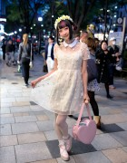 RinRin Doll in Harajuku w/ Flower Crown, LilLilly Flower Dress & Heart Handbag