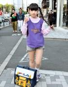 Rinyo's Cute Twin Braids, Fila Bag & Strawberry Milk in Harajuku