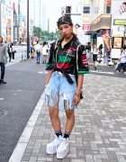 Pin Nap Fringe Denim Shorts, Logo Top & YRU Platforms in Harajuku