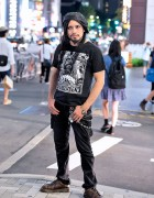 Japanese DJ w/ Rob Zombie T-Shirt, Long Hair, Beret & Silver Jewelry