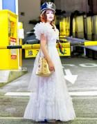 White Vintage Maxi Dress From Rosy Baroque & Nude Trump Tokyo Bag