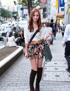 Shibuya Girl in Flower Skirt & Suede Boots w/ Louis Vuitton Purse