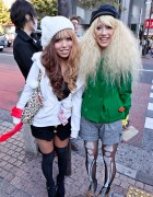 Shibuya Girls w/ Two-Tone & Blonde Hairstyles, Hats & Skeleton Tights