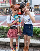 Cute Shibuya Girls w/ High Waisted Shorts, Double Bun Hair & Sing-a-ma-jigs