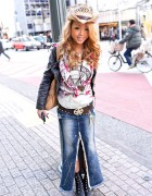 Shibuya Gyaru w/ Long Denim Skirt, Open Toe Boots & Leather Jacket