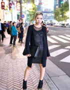 Japanese Fashion Blogger w/ JC Gold Wedges, Fuzzy Sweater & Zara Clutch