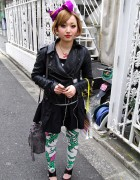 Cute Japanese Girl in Galaxxxy Leggings & Hair Bow