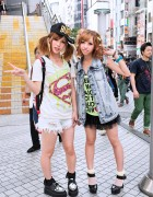 Shibuya Rock Girls w/ Creepers, Cutoffs, Tulle Skirt & Twintails