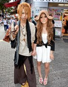Stylish Shibuya Couple w/ Blonde Hair, Wide Leg Pants, Sundress & Espadrilles