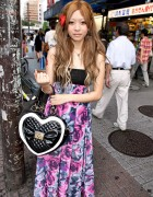 Shibuya Girl w/ Floral Dress, Golds Infinity Heart Handbag & Hair Bow