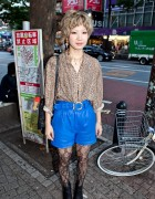 Shibuya Girl's Short Blonde Hairstyle, Blue High Waist Shorts & Platform Booties