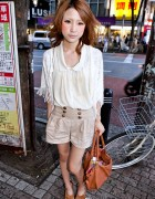 Shibuya Girl in High Waist Shorts, Lace Cardigan & Suede Camel Wedges