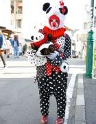 Pierrot-Panda Shironuri on The Street in Harajuku