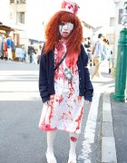 Japanese Shironuri Horror Nurse on the Street in Harajuku