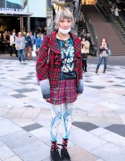"""Live for Love"" Top, Tartan, Heart Necklace & Shojono Tomo in Harajuku"
