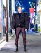 Extreme Shoulder Pads Japanese Street Style w/ Handmade Boxy Jacket & Maison Margiela Tabi Boots