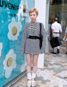Striped Crop Top & Skirt w/ Loose Socks & Platform Sandals in Harajuku