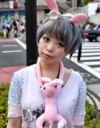 Short-Haired Harajuku Girl w/ Pink Rabbit Ears & ANAP Rabbit Bag