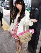 Shibuya Girl in Gingham Dress w/ Ank Rouge Straw Bag