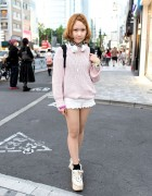 Tokyo Bopper Platforms, Snidel Sweater & Lace Shorts in Harajuku