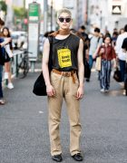 Harajuku Guy in Sonic Youth Top, Belt Choker, Levi's Pants & Valentino Loafers