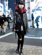 Harajuku Girl in Leather Biker Jacket, Spinns Top & George Cox Boots