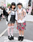 Harajuku Girls w/ Twin Braids, Glasses, Sheer Dress & Platform Sneakers