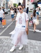 Funktique Sports Jersey, Bubbles Sheer Skirt & Blinking Shoes in Harajuku