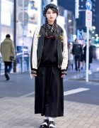 Japanese Sukajan Jacket, MYOB Hat & DVMVGE Septum Ring in Harajuku