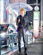 Rainy Weather Harajuku Street Style w/ Studded Leather Jacket, Snakeskin Pants & Nike Air Force Ones