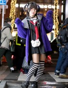 Harajuku Girl w/ Japanese Sailor Dress, Monster Hoodie, Demonia Platforms & Panda Backpack