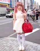 Cute Pink Hair, Swankiss Corset, Heart Handbag, Katie & Tokyo Bopper in Harajuku