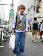 Harajuku Guy in Glasses, Bow Tie & Colorful Vest