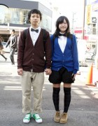 Cute Japanese Pair Look Couple in Harajuku