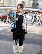 Hysteric Glamour x Furry Leg Warmers in Harajuku