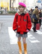 Cute Japanese Bob Hairstyle & Pink Beret in Harajuku