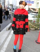 Girl in Galaxxxy Duffle Coat & Cool Short Hair Style