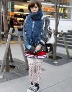 Cheerleader Skirt & Platform Sneakers in Tokyo