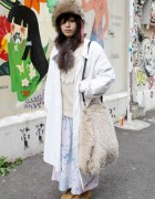 Japanese Girl w/ Furry Handmade Purse in Harajuku