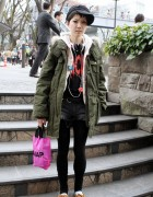 Girl in Military Coat w/ HellcatPunks Bag in Harajuku