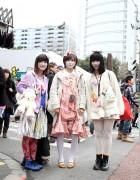 Three Harajuku Girls Wearing Hair Bows & Sweets
