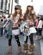 Girls in Liz Lisa Plaid Tops and Hats in Harajuku